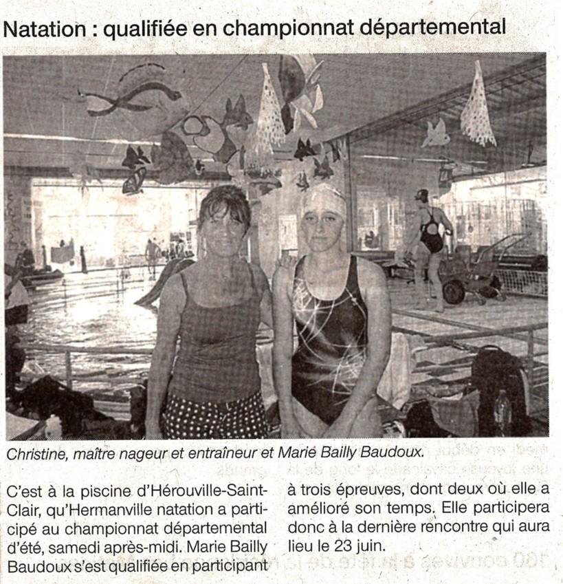 Ouest France : 12 juin Mai 2012 : Natation, qualifiée au champtionnat départemental d'été !