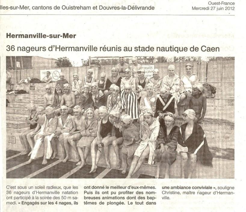 Ouest France : 27 juin 2012 : 36 nageurs d'Hermanville réunis au stade nautique de Caen