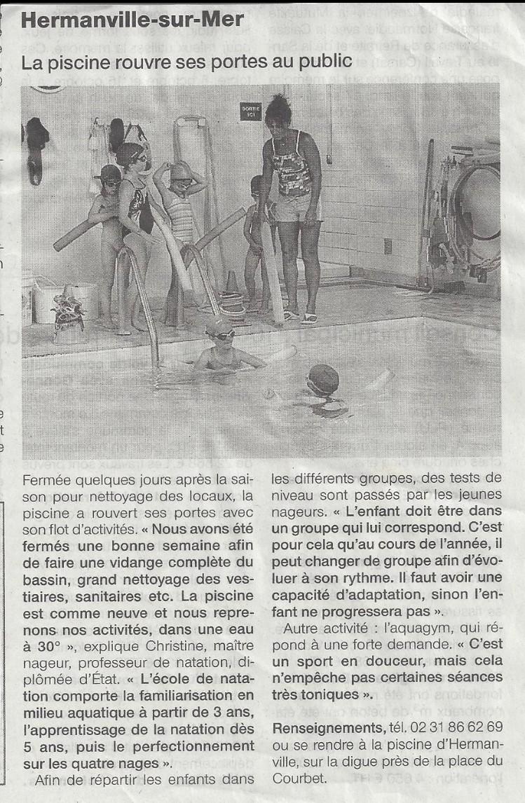 Ouest France : Septembre 2012 : La piscine rouvre ses portes au public