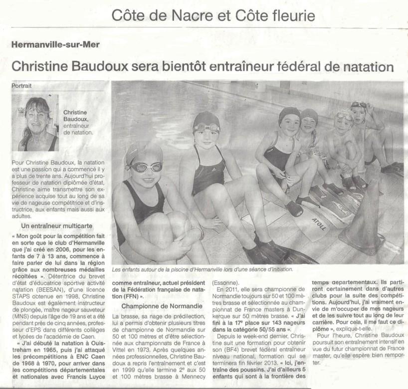 Ouest France : décembre 2012 : Christine Baudoux sera bientôt entraîneur fédéral de natation