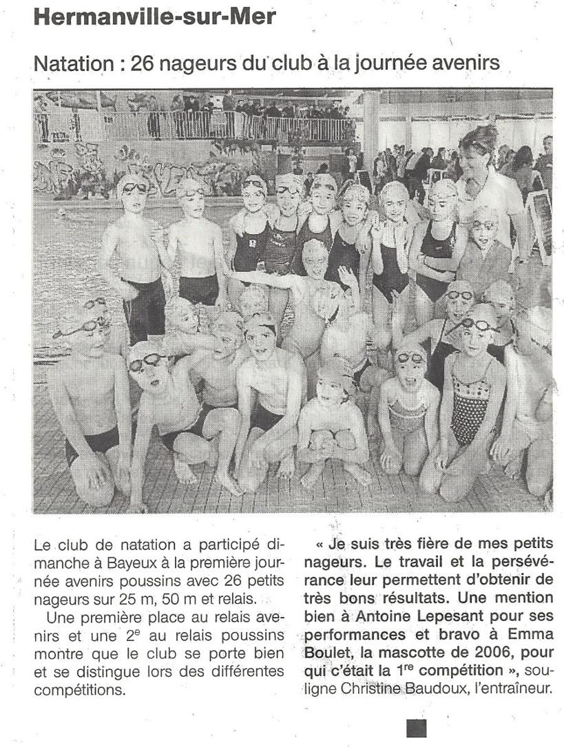 Ouest France : décembre 2012 : 26 nageurs du club à la journée avenirs