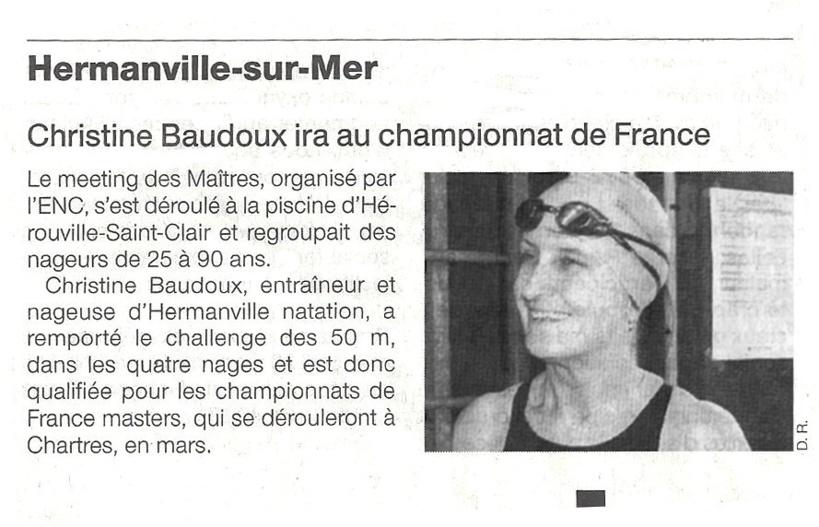 Ouest France : 15 février 2013 : Christine Beaudoux ira au championnat de France !