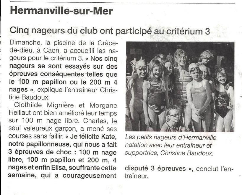 Ouest France : 15 avril 2013 : Natation : Cinq nageurs du club ont participé au critérium 3