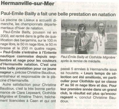 Ouest France : 28 novembre 2013 : Championnats départementaux à Lisieux