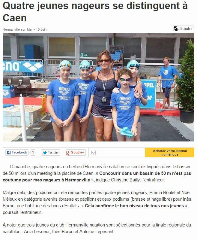 Meeting de Caen: Nos nageurs se distinguent dans Ouest-France.